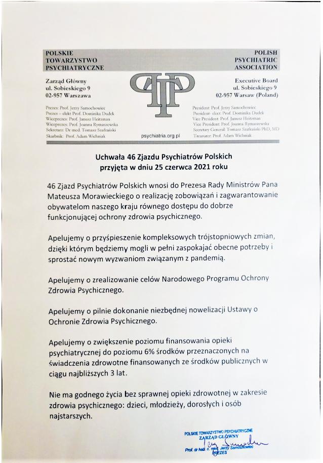 Ważna uchwała Polskiego Towarzystwa Psychiatrycznego z dnia 25 czerwca 2021
